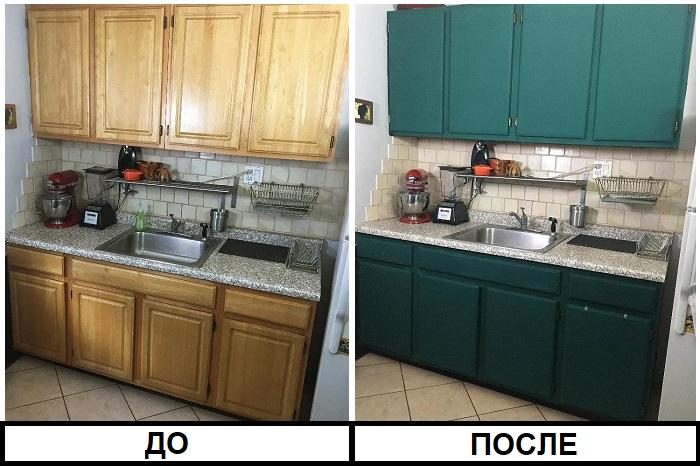 Кухонный гарнитур до и после покраски. / Фото: plitkahelp.com