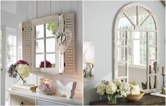 Зеркало в виде окна визуально расширит пространство, сделает его светлее