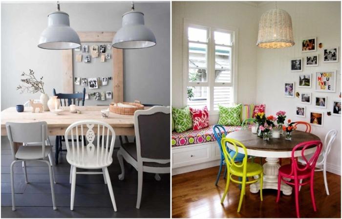 Можно купить разные стулья или покрасить старый в яркие цвета