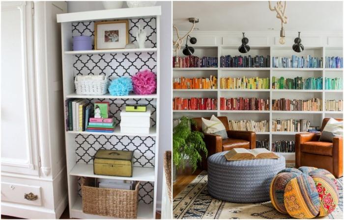 Можно расставить книги по цвету или красиво оформить заднюю стенку стеллажа