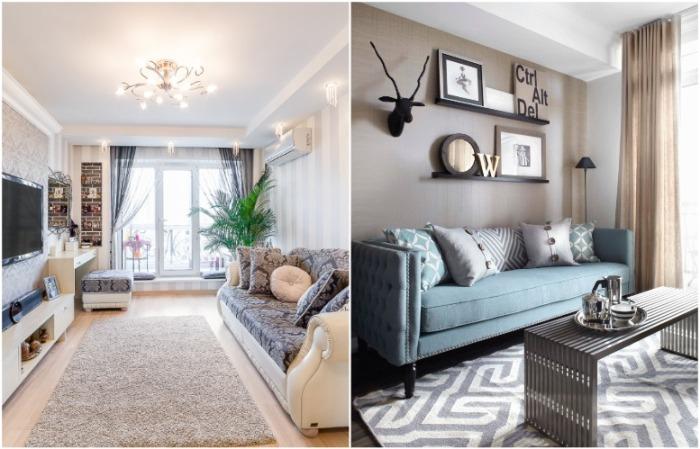 В зависимости от размеров комнаты, мебель может стоять на ковре или не соприкасаться с ним
