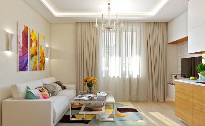 Шторы в цвет стен не перегружают пространство. / Фото: remontt.net