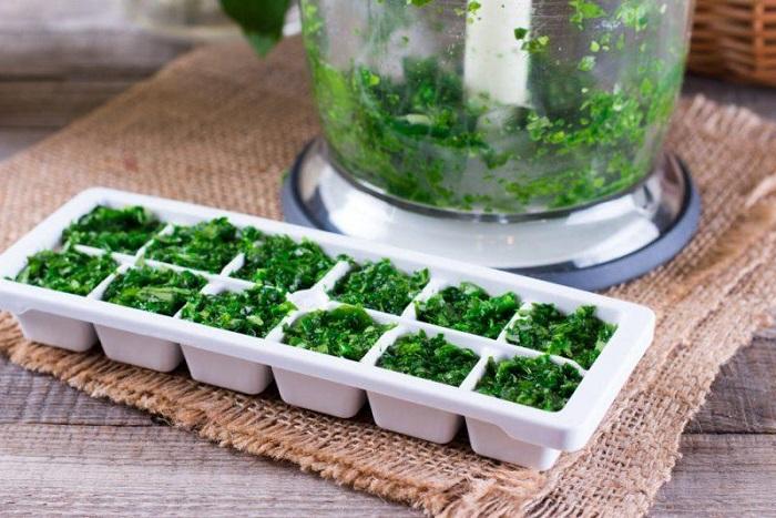 Замораживайте зелень с водой или маслом в формочке для льда. / Фот: keepok.ru