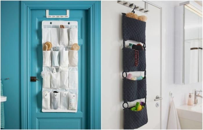 На двери можно разместить специальные органайзеры с кармашками