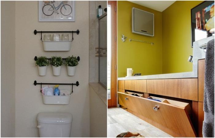Над унитазом повесьте полки, а для ванны выберите экран с отсеками для хранения