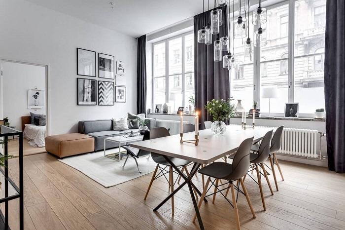 Стол в стиле лофт прекрасно сочетается со скандинавской мебелью. / Фото: kleinburd.ru