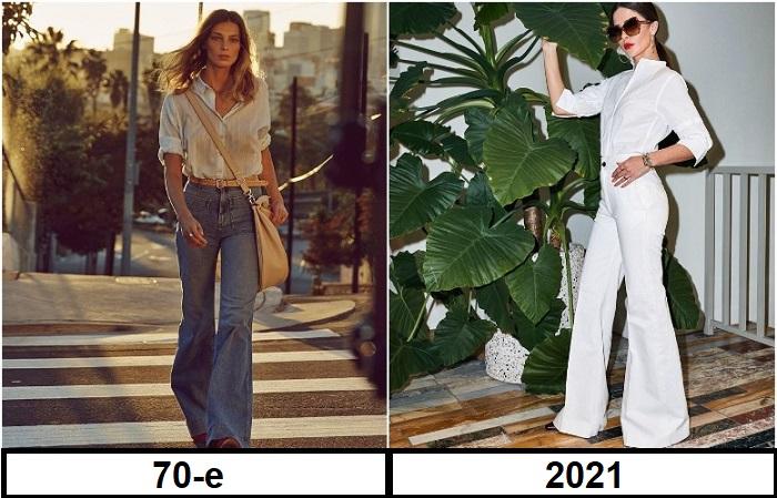 В 70-х были очень популярны джинсы клеш, а сейчас более актуальны брюки такого фасона