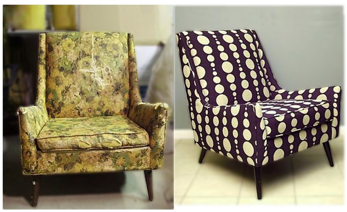 Кресло до и после смены обивки. / Фото: km9.in.ua