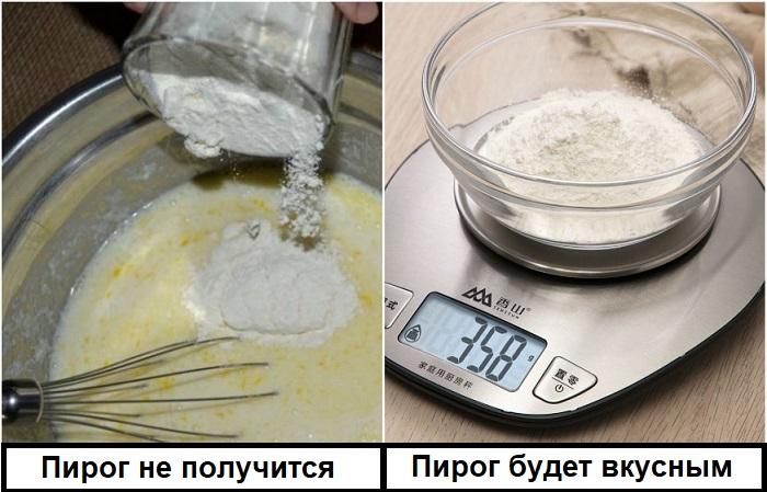 Нужное количество муки нужно измерять весами, а не стаканами