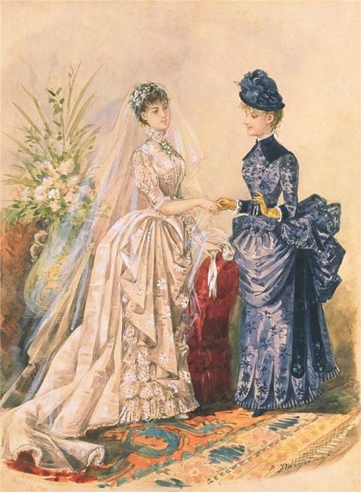 Пышное свадебное платье XIX века. / Фото: koshkin-ogorod.livejournal.com