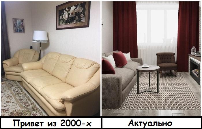 Кожаные диваны смотрятся неуместно в простых хрущевках