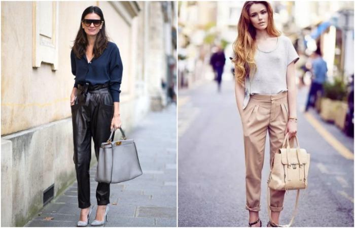 Кожаные брюки могут быть как классического черного, так и бежевого цветов