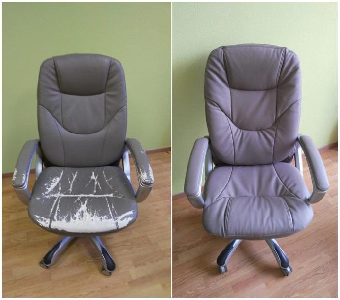 Старое компьютерное кресло до и после перетяжки. / Фото: svoimi-rukami2.ru