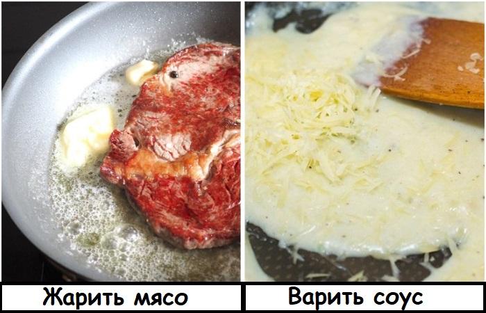 Сливочное масло выступает как загуститель соуса, и на нем можно жарить мясо