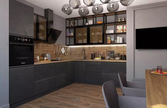 Вместо глухих фасадов можно организовать открытые полки. / Фото: mebelkaluga.com