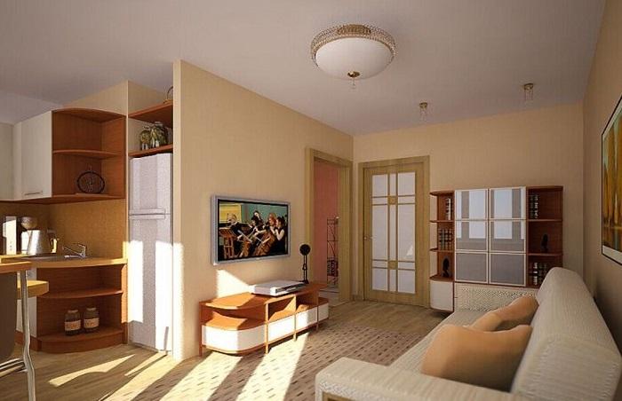 Одна лампа в кухне-гостиной не справится с освещением. / Фото: mykaleidoscope.ru