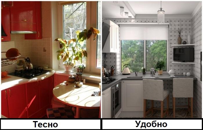 Из подоконника лучше сделать столешницу. / Фото: diz-kitchen.ru