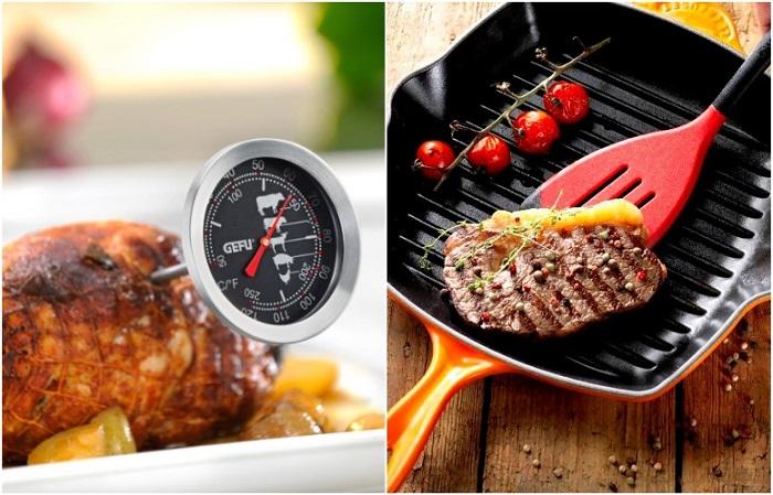 Сковорода-гриль и термощуп полезны на кухне