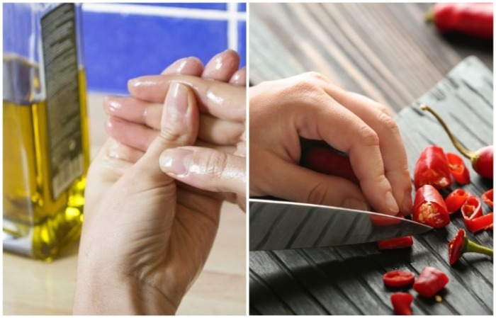 Смажьте руки растительным маслом