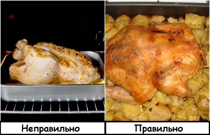 Курицу нужно класть грудкой вниз
