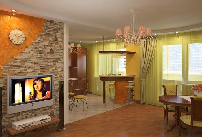 Сносить стену между кухней и гостиной нельзя без согласования. / Фото: tat-remont.ru