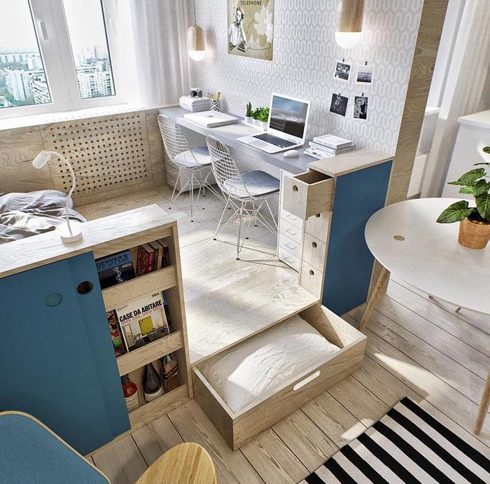 Подиум - отличный метод зонирования пространства. / Фото: kvartira-studia.ru