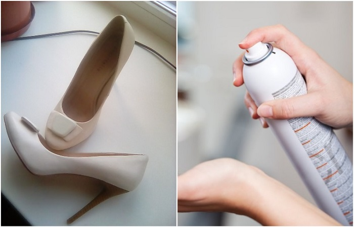 Взбрызните лаком стельки на туфлях