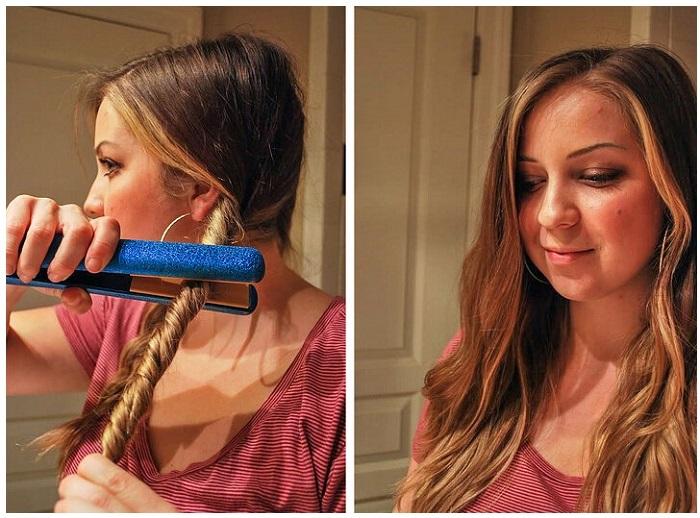 Скрутите волосы в жгут и пройдитесь по ним утюжком. / Фото: burdacentr.ru
