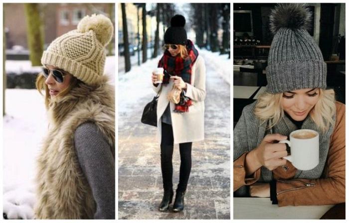 Шапки с помпоном добавляют зимнему образу игривости. / Фото: liza.ua