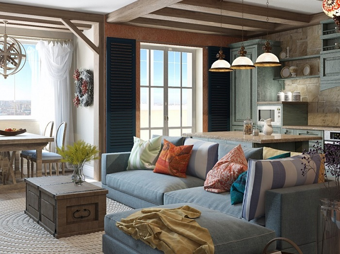 Характерная черта стиля - использование массивной мебели. / Фото: mag.dom.by