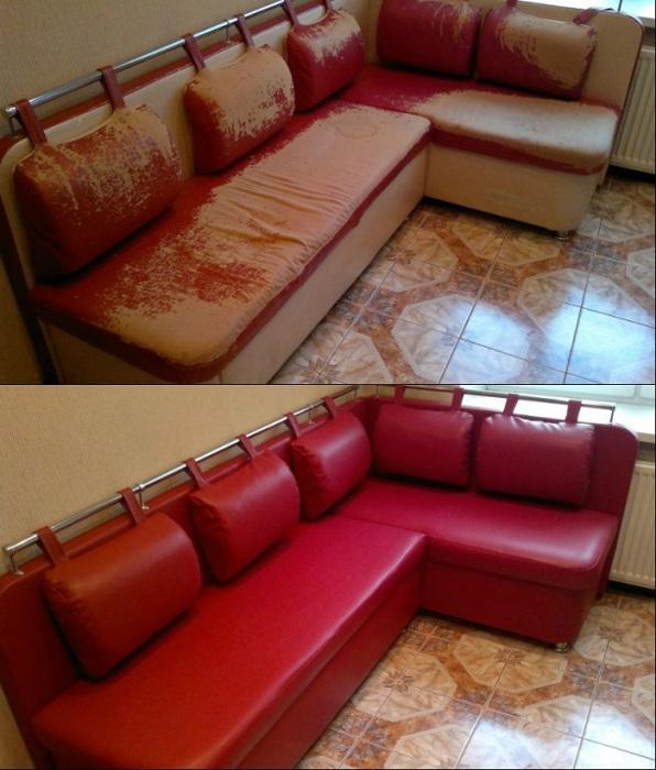 Если обивка на кухонной мебели испортилась, закажите новую. / Фото: mastera.ru