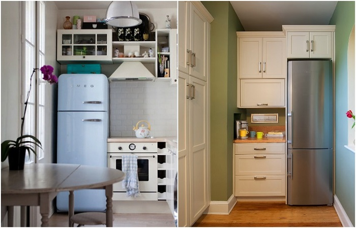 Продлите кухонный гарнитур, чтобы над холодильником был шкафчик