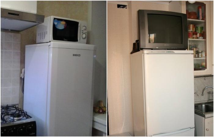 На холодильник можно поставить микроволновку или телевизор