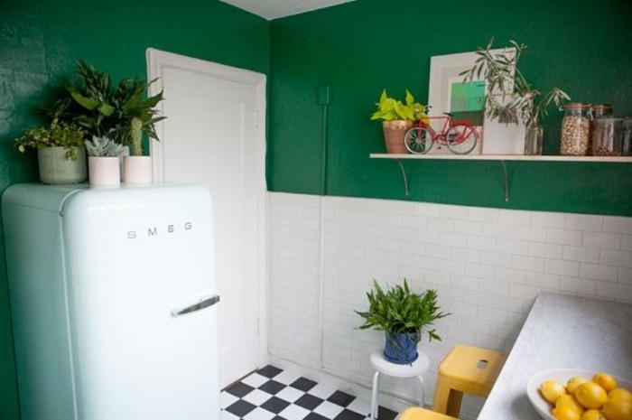 Поставьте цветы на холодильник, но поливайте их на другой поверхности. / Фото: museum-design.ru
