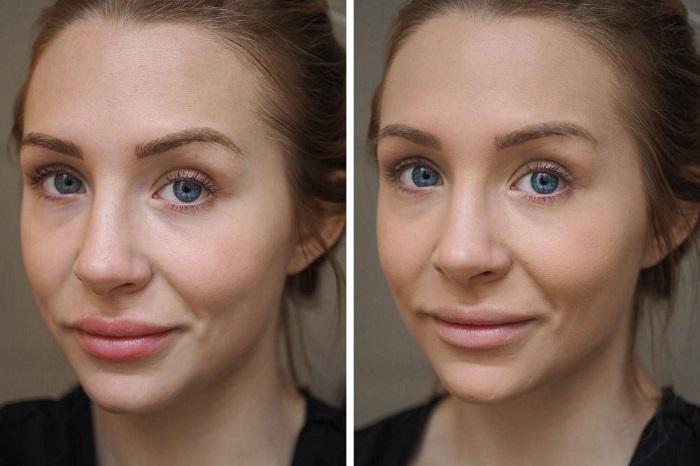Лицо «до» и «после» использования праймера. / Фото: mineralsplanet.ru