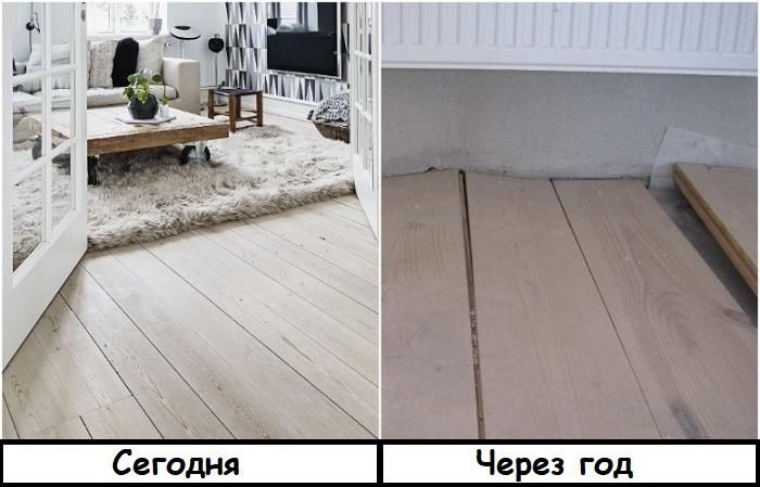 Из-за влажности и неправильного ухода деревянные полы рассыхаются