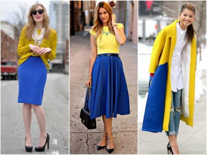 Сочетание синего и желтого очень игривое и стильное. / Фото: modnaya-krasivaya.ru