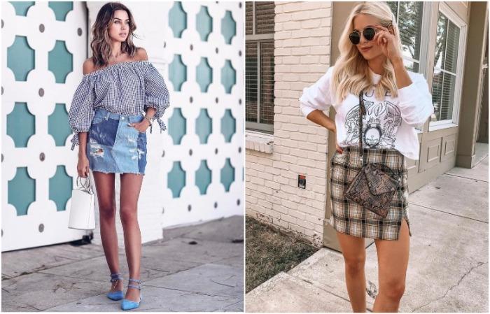 Мини-юбка может быть джинсовой или с принтом