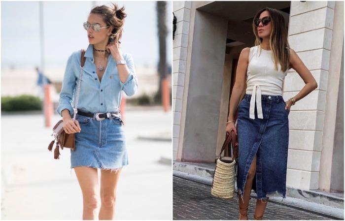 В моде короткие джинсовые юбки и модели длины миди