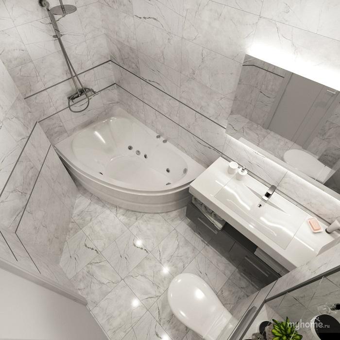 Мраморный пл в ванной комнате. / Фото: myhome.ru