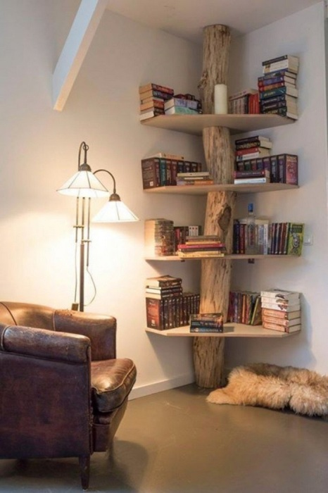 Если разместить книжные полки в углу, то можно сэкономить много места. / Фото: mtdata.ru