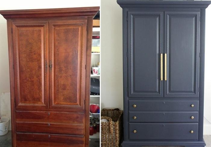 Советский шкаф до и после реставрации