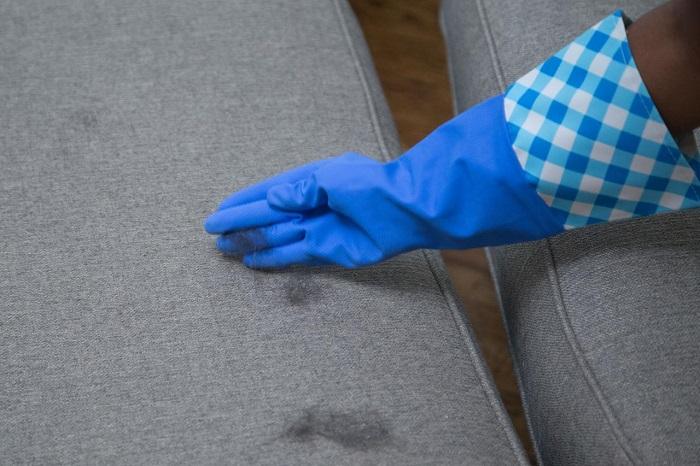 Мокрая перчатка соберет шерсть не хуже валика. / Фото: mylove.ru
