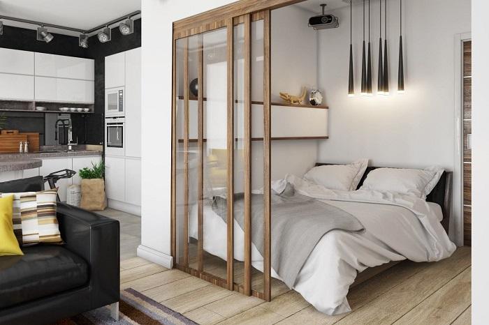 В качестве метода зонирования спальни можно выбрать перегородку. / Фото: dizainexpert.ru