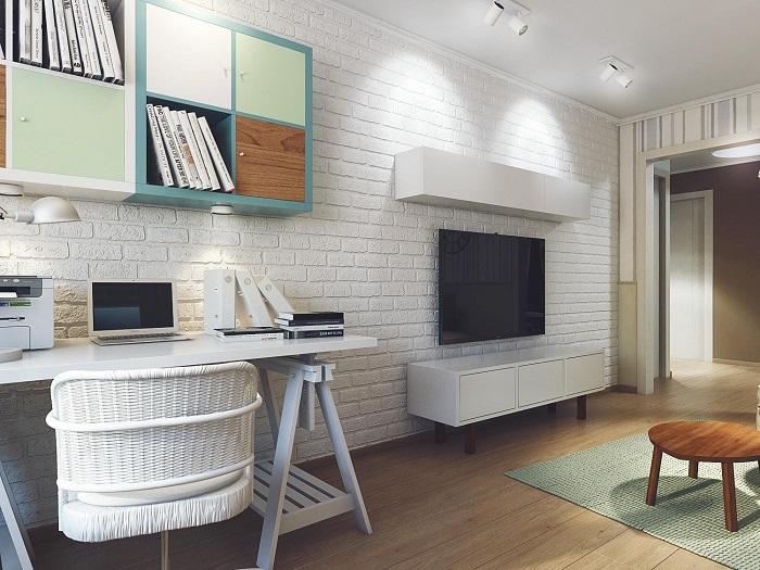 Для мини-кабинета достаточно стола, стула и нескольких полок или шкафов. / Фото: mykaleidoscope.ru