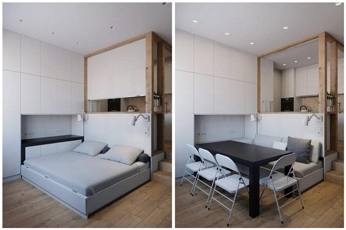 Многофункциональная складная мебель - лучший выбор для однушки. / Фото: kakpostroit.su