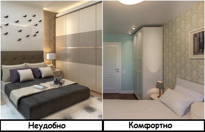 Шкаф, расположенный сбоку от кровати, не дает нормально передвигаться