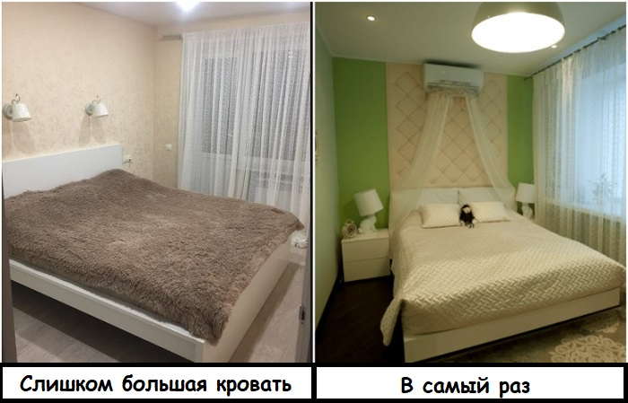 Кровать слева слишком большая для спальни, а справа - идеально подходит по размеру