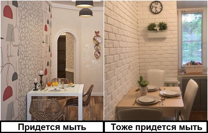 Любую отделку придется мыть, будь то обои или декоративный кирпич