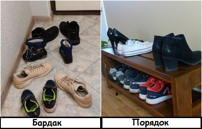Обувь нужно аккуратно расставлять на полке